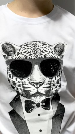 T-shirt TIGER IN GLASSES biały